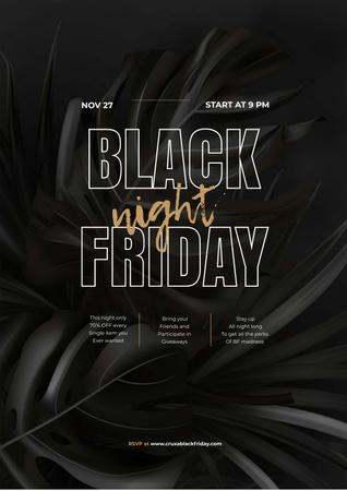 Modèle de visuel Black Friday night sale - Poster