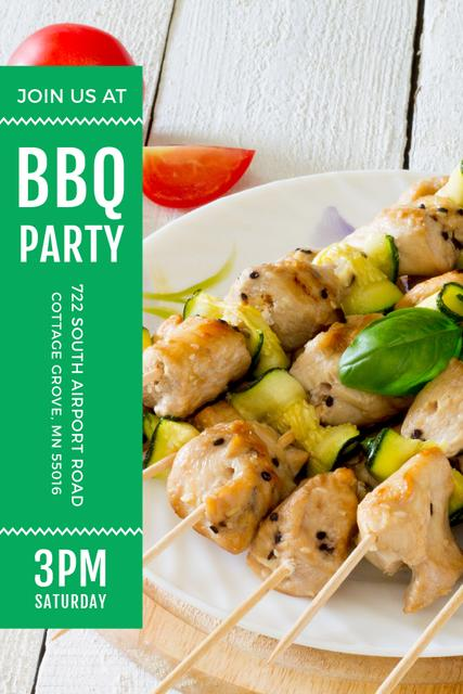 BBQ Party Invitation with Grilled Chicken on Skewers Pinterest Design Template