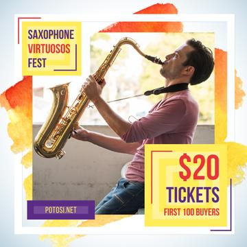 Saxophone Fest Invitation Musician Playing | Instagram Post Template
