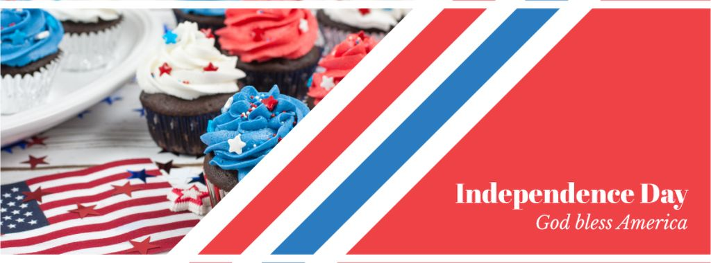 Independence Day Celebration Cupcakes in Blue and Red | Facebook Cover Template — Modelo de projeto