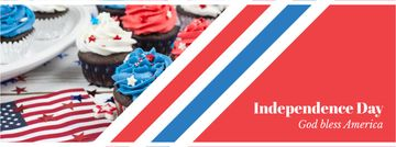 Independence Day Celebration Cupcakes in Blue and Red | Facebook Cover Template