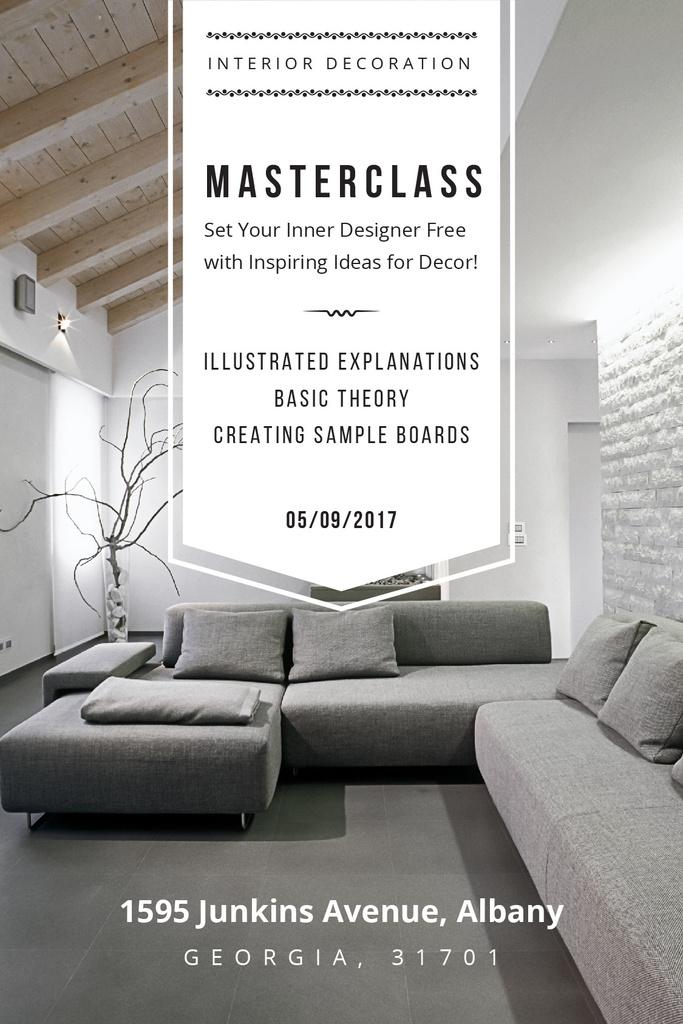 Interior Decoration Event Announcement Sofa in Grey — Maak een ontwerp