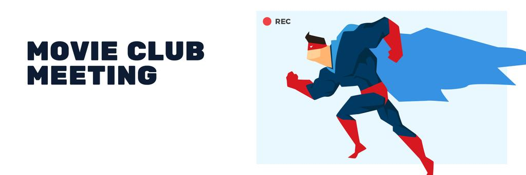 Movie Club Meeting Man in Superhero Costume | Twitter Header Template — Crear un diseño