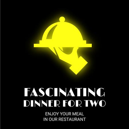 Ontwerpsjabloon van Animated Post van Neon Restaurant Signboard
