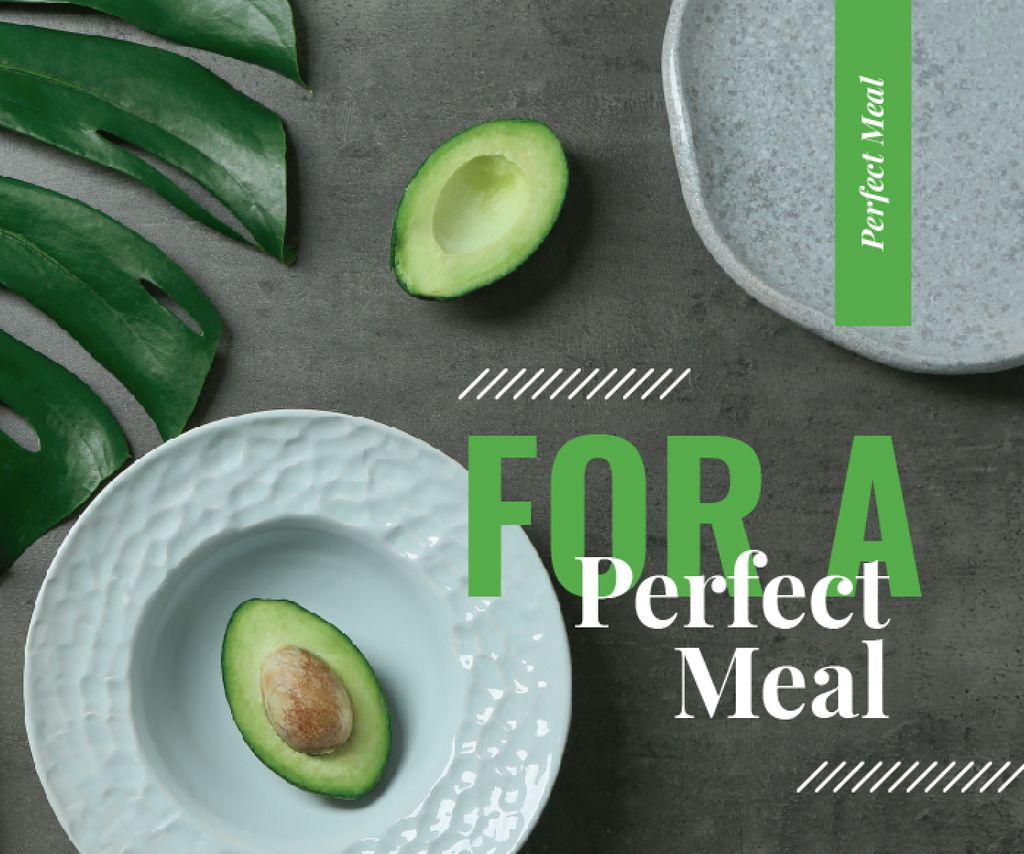 Green avocado halves on table — Create a Design