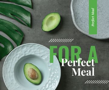 Green Avocado Halves on Table | Large Rectangle Template