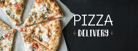 Plantilla de diseño de Pizzeria Offer Hot Pizza Pieces Facebook cover