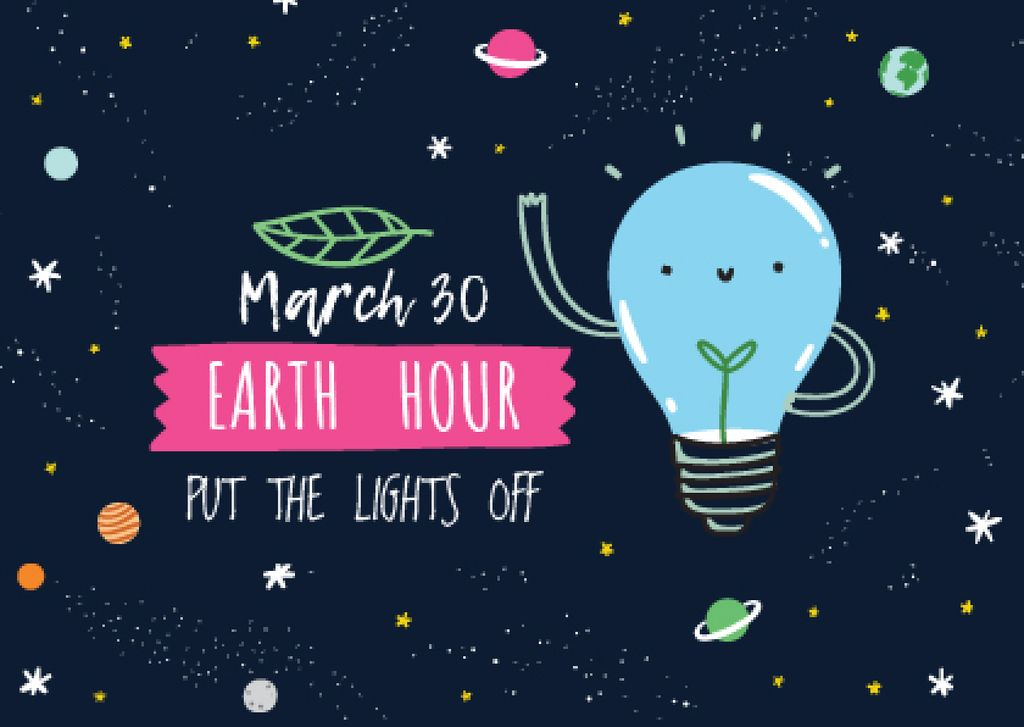 Earth hour Announcement with Smiling Lightbulb — Створити дизайн