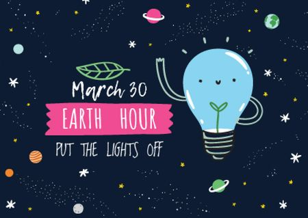 Earth hour Announcement with Smiling Lightbulb Postcard – шаблон для дизайна
