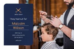 Kids Salon Ad with Boy at Haircut