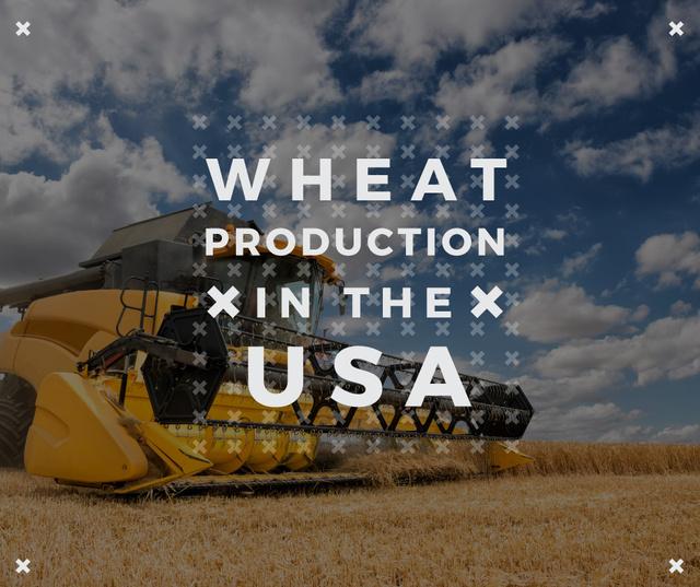 USA agriculture Harvester working in field Facebook Modelo de Design