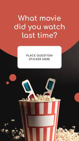 Ontwerpsjabloon van Instagram Story van Movie question form with Popcorn and glasses