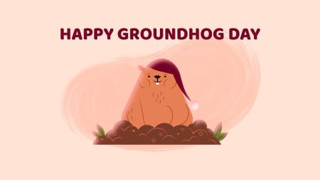 Plantilla de diseño de Happy Groundhog Day with sleepy animal Full HD video