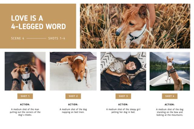 Owner Girl with Funny Dog Storyboard Design Template