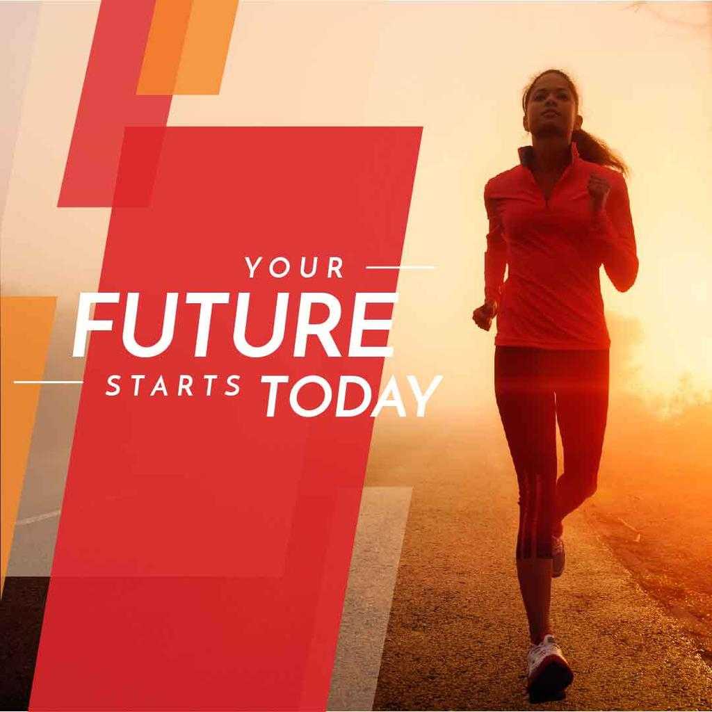 Inspirational quote with running young woman — Modelo de projeto