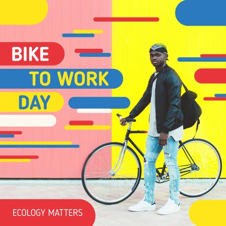 Bike to Work Day Man with Bicycle in City Instagram Design Template