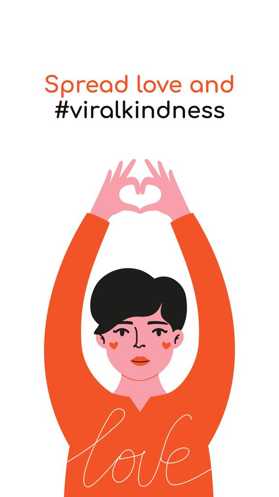 #ViralKindness Help Offer with Woman showing heart — Crear un diseño