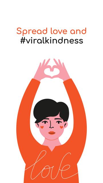 #ViralKindness Help Offer with Woman showing heart Instagram Storyデザインテンプレート