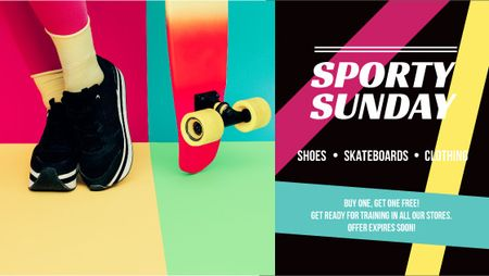 Sports Equipment Ad with Girl by Bright Skateboard Title Modelo de Design