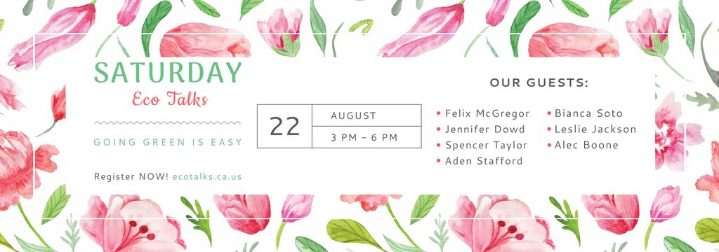 Eco Event Announcement Watercolor Flowers Pattern — Modelo de projeto