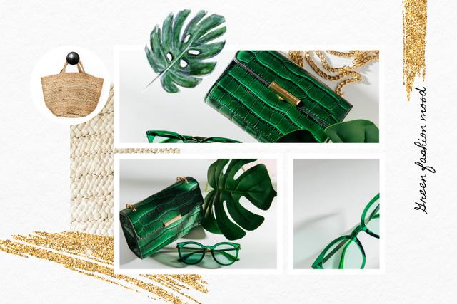 Fashion Accessories in green colors Mood Board Modelo de Design
