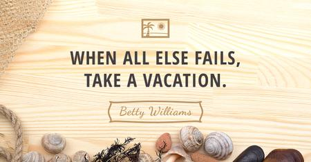 Citation about Vacation with Seashells Facebook AD – шаблон для дизайну
