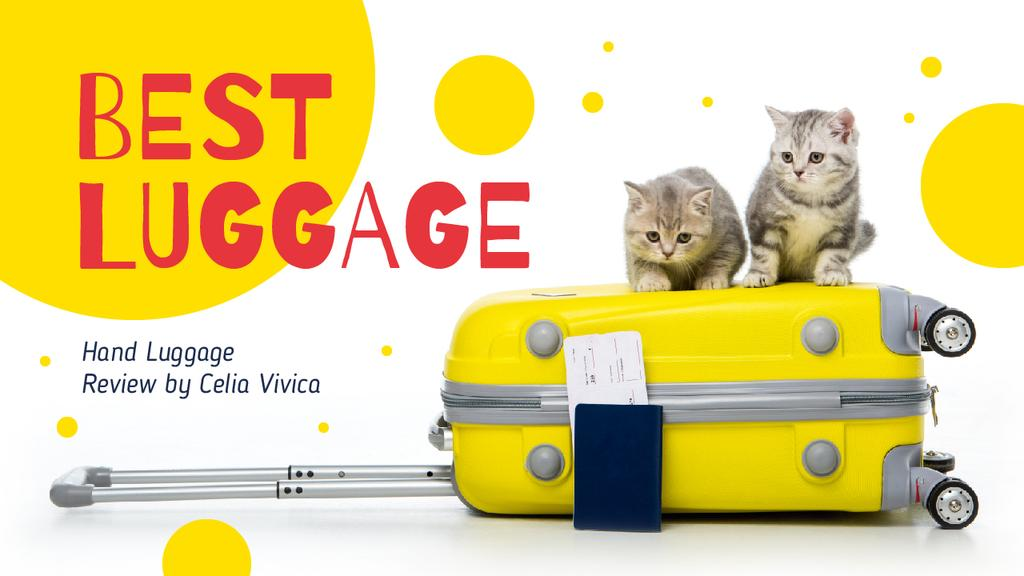 Luggage Ad Kittens on Suitcase in Yellow — Modelo de projeto