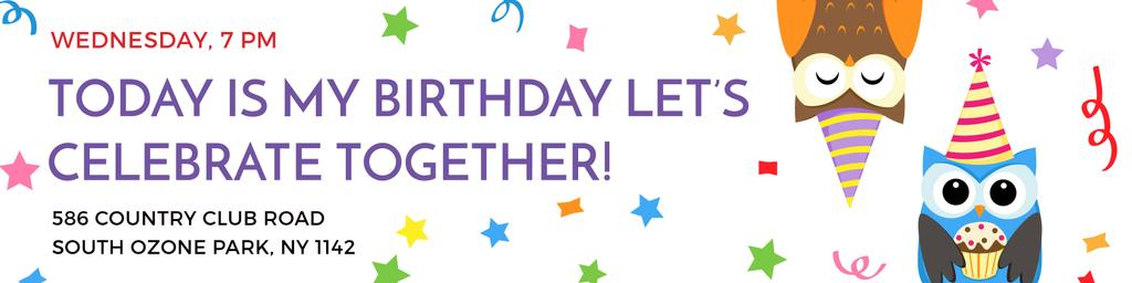 Plantilla de diseño de Birthday party Announcement with Cute Owls Twitter