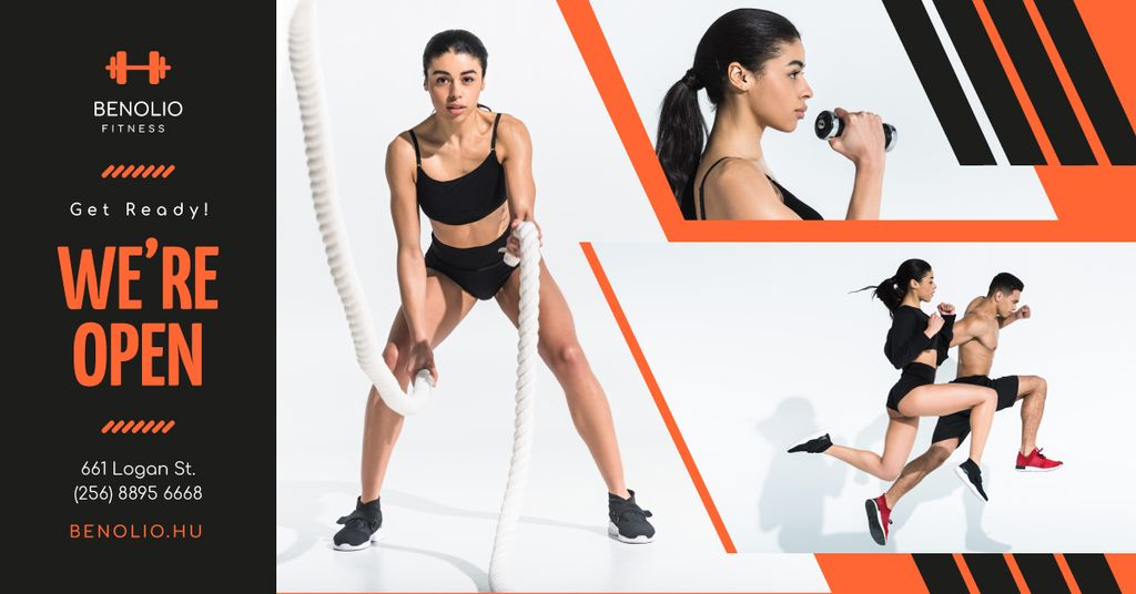 Gym Opening Announcement People Crossfit Training Facebook AD Design Template