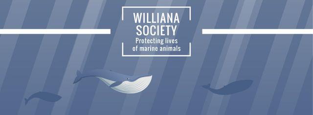 Whales swimming underwater Facebook Video cover – шаблон для дизайну