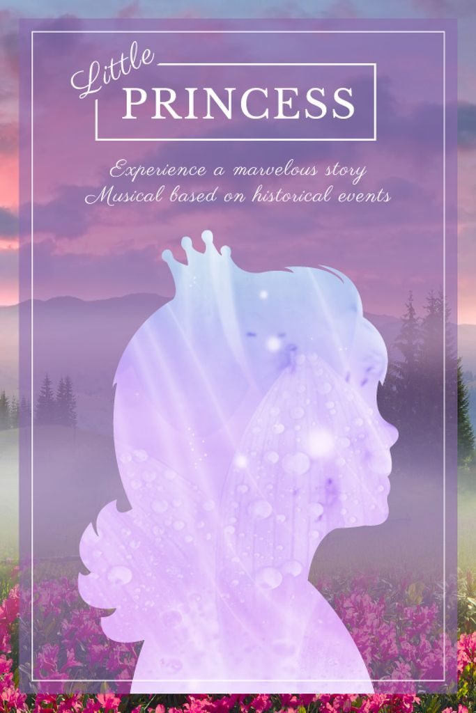 Fairy Tale cover with Princess silhouette Tumblr Design Template