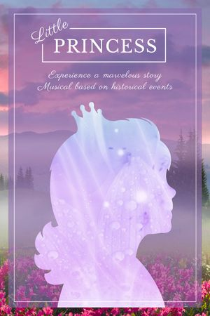 Template di design Fairy Tale cover with Princess silhouette Tumblr