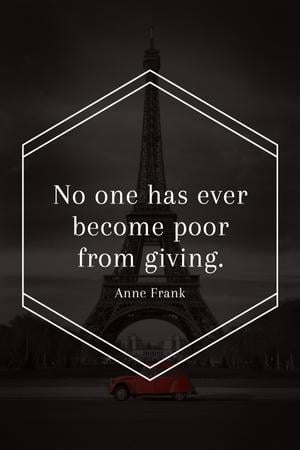 Charity Quote on Eiffel Tower view Tumblrデザインテンプレート