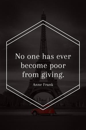 Template di design Charity Quote on Eiffel Tower view Tumblr