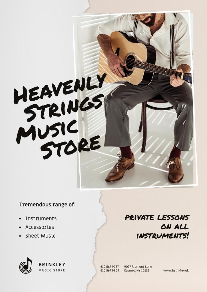 Music Store Offer with Man playing Guitar —デザインを作成する