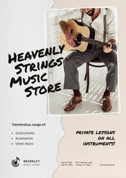 Music Store Offer with Man playing Guitar