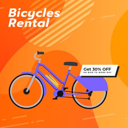 Plantilla de diseño de Bike to Work Day Offer with Modern purple bicycle Animated Post