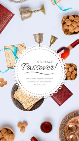 Happy Passover Dinner Table Frame Instagram Video Story Modelo de Design