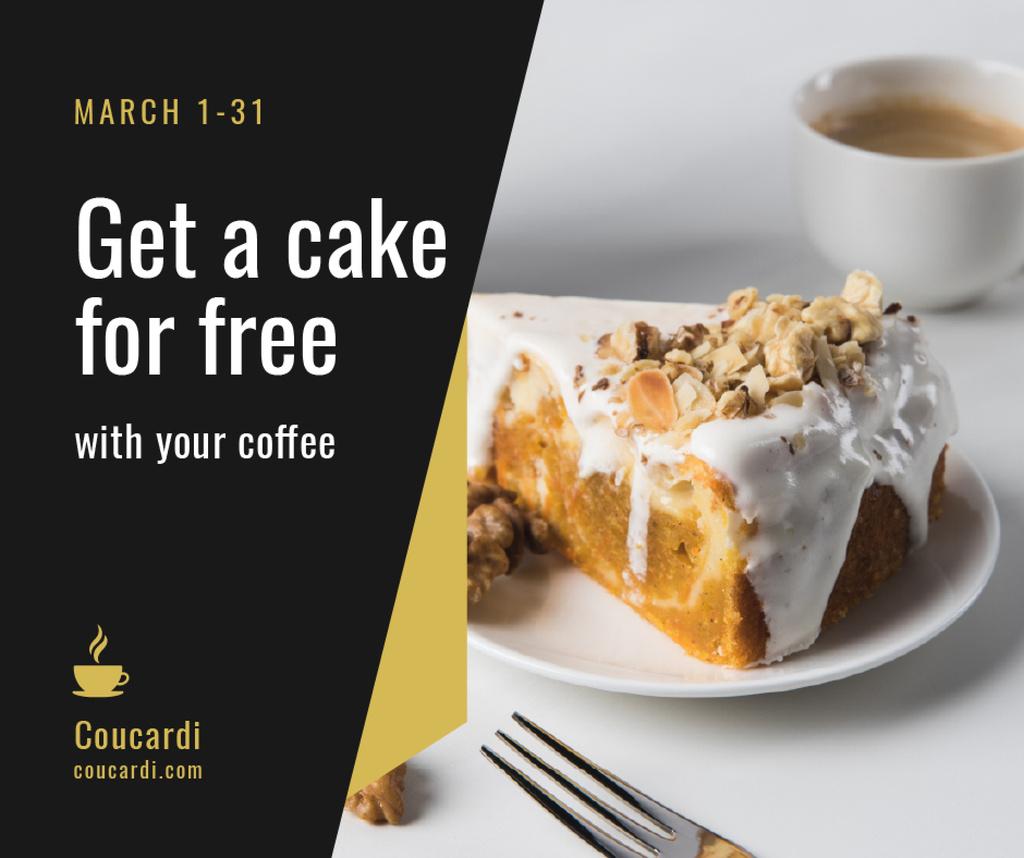 Coffee shop offer with sweet Cake Facebook Modelo de Design