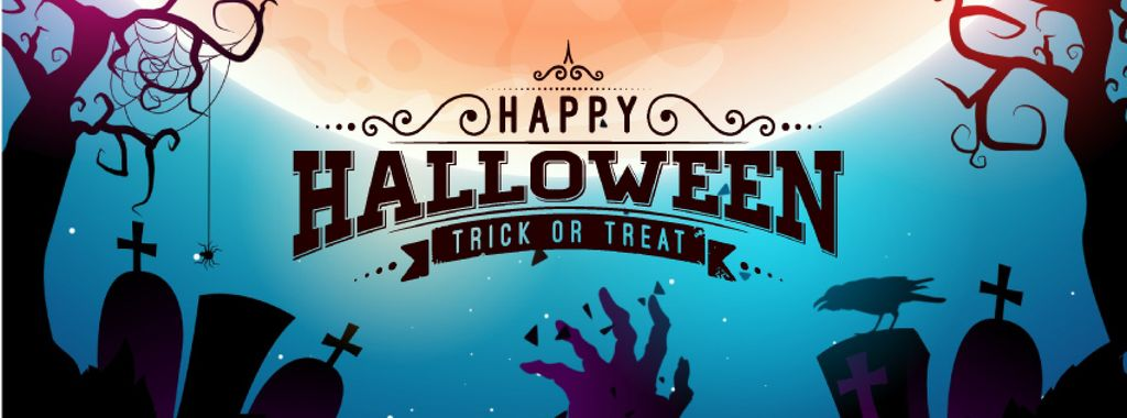 Halloween Greeting with Zombie hand on graveyard — Maak een ontwerp