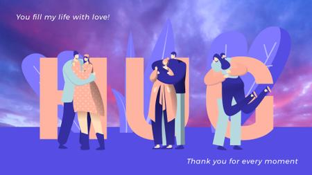 Plantilla de diseño de Loving Couples Hugging in Blue Full HD video