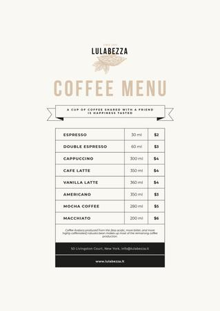 Plantilla de diseño de Coffee Shop beverages Menu