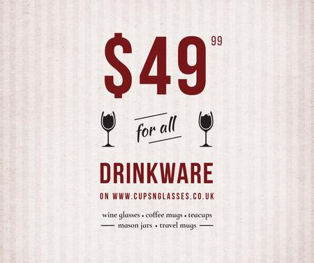 Plantilla de diseño de Drinkware Sale Glass with red wine Facebook