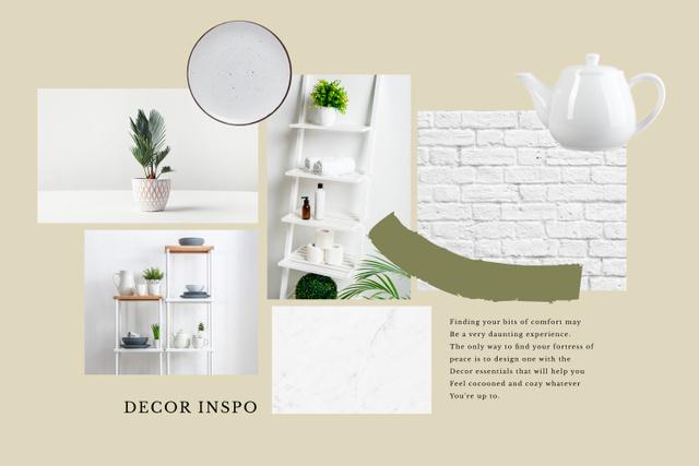 Home Decor inspiration in white Mood Board Modelo de Design