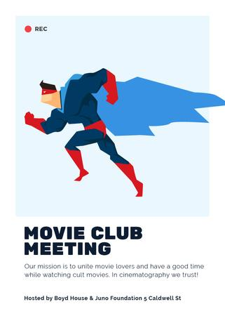 Plantilla de diseño de Movie Club Meeting Man in Superhero Costume Invitation