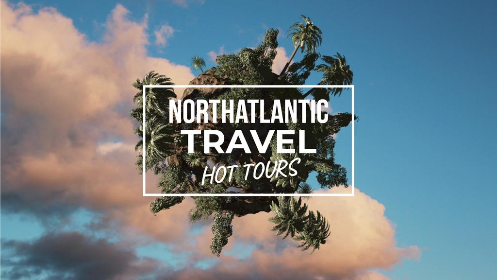 Travel Tour Offer Rotating Globe with Palms | Full Hd Video Template — Modelo de projeto