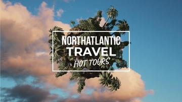 Travel Tour Offer Rotating Globe with Palms | Full Hd Video Template
