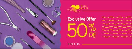 Plantilla de diseño de Makeup cosmetics set Offer in pink Facebook cover