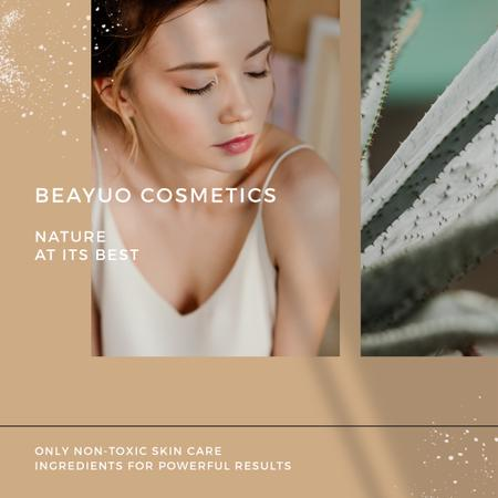Cosmetics Products Offer with Tender Woman Instagram Design Template