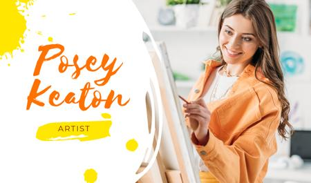 Art Lessons Ad with Woman Painting by Easel Business card – шаблон для дизайну